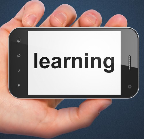 "The word ""Learning"" on a mobile phone"