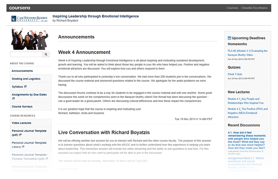 Typical MOOC interface--Coursera