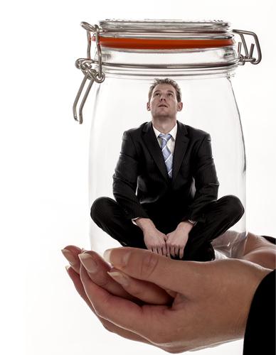 Man in a glass jar